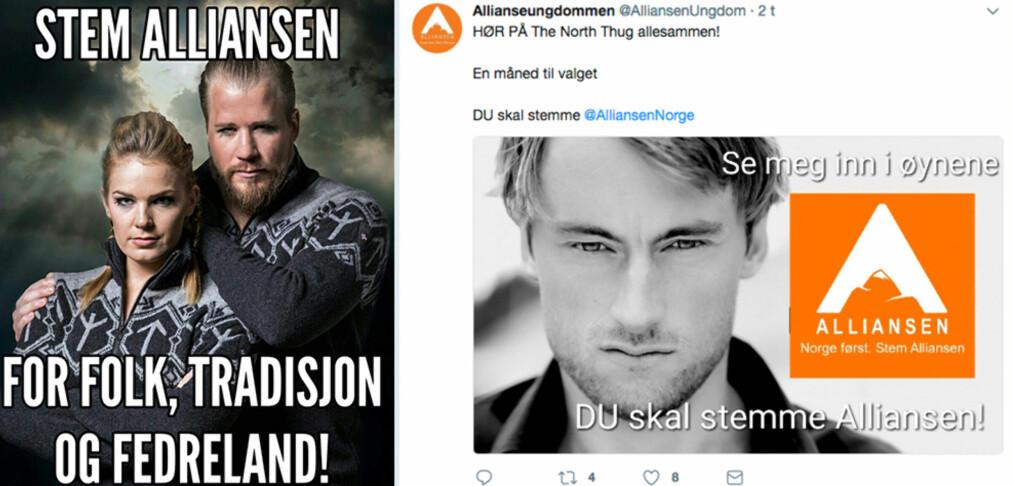 <strong>REAGERER:</strong> Petter Northug og Nina Løseth reagerer på å bli brukt av Allianseungdommen i forbindelse med politiske budskap. Foto: Skjermdump / Twitter