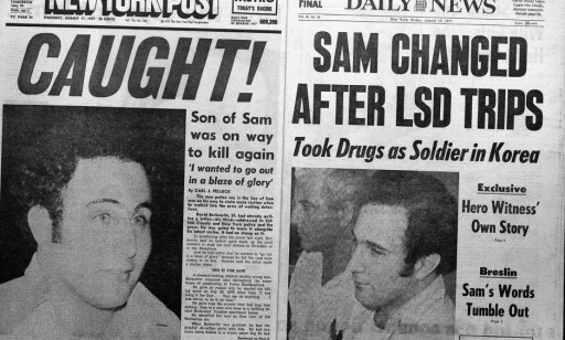 TATT: Forsida på New York Post og Daily Mail 11. august 1977 passet nok Berkowitz, som hadde en forkjærlighet for oppmerksomheten i tabloidpressen. Foto: NTB scanpix / AP Photo/File