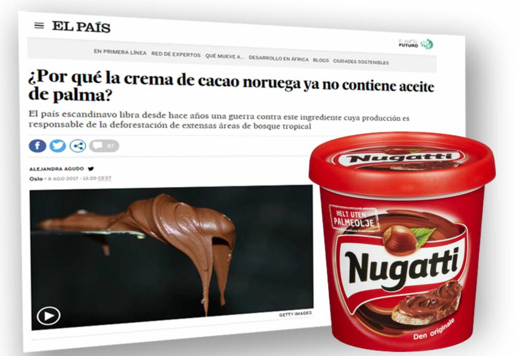 <strong>NUGATTI:</strong> Spanias største avis har plukket opp at det norske sjokoladepålegget er laget uten palmeolje. Skjermdump/Foto/Montasje: El Pais / Orkla Foods / Dagbladet