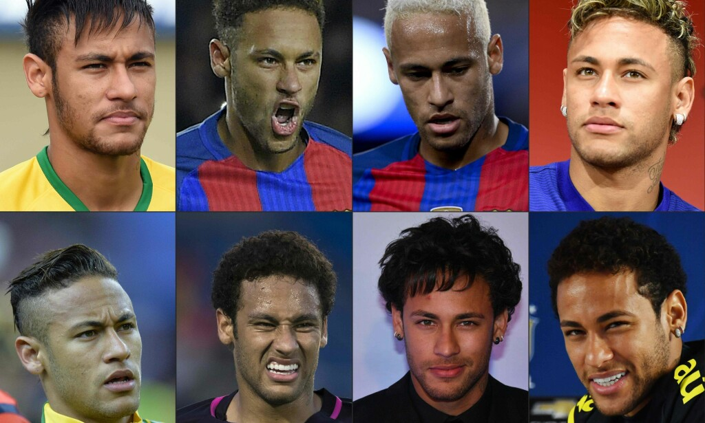 MOTELØVE: Neymar har hatt mange forskjellige hårsveiser opp gjennom årene. Foto: AFP PHOTO/NTB Scanpix
