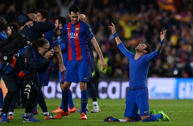 KAMPENS SPILLER: Neymar feirer etter 6-1-seieren over PSG som Barcelona-spiller. Foto: AFP PHOTO / Josep Lago / NTB Scanpix
