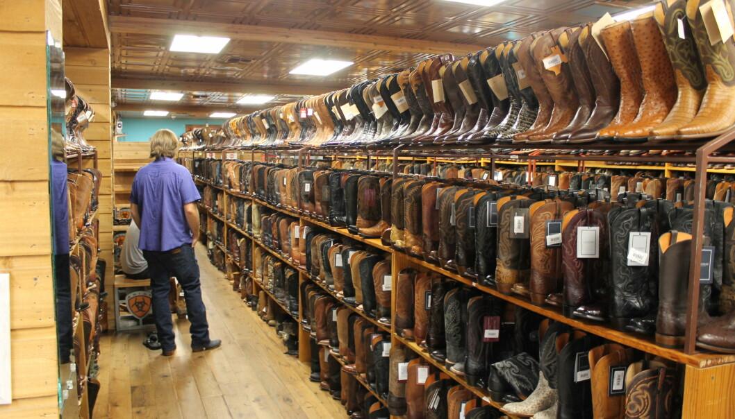 BOOTS: Allen Boots er en berømt butikk i Austin i Texas hvor utvalget av cowboystøvler, - hatter og -beltespenner er massivt. Foto: Vegard Kristiansen Kvaale / Dagbladet