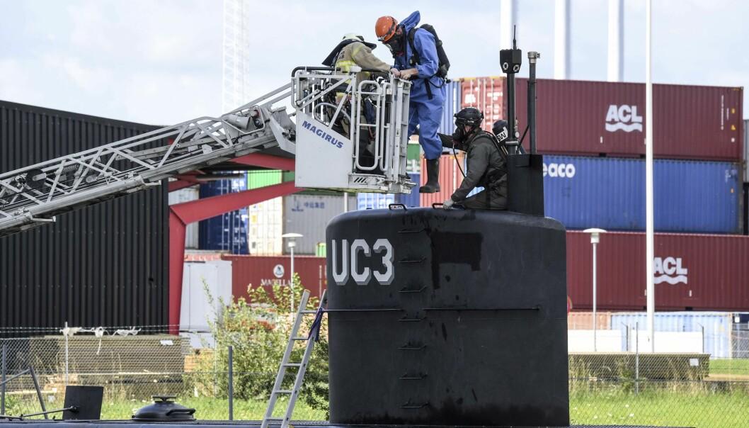 <strong>MULIOG HEMMELIGE ROM:</strong> Dansk politi opplyser i en pressemelding i dag at de nå skanner ubåten Nautilus etter at de har fått tips om at den kan inneholde hemmelige rom. De søker også etter et mulig gjerningsvåpen. Foto: Johan Nilsson/TT / NTB scanpix