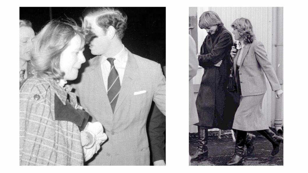 PRINS CHARLES OG CAMILLA: Den britiske prinsen møtte Camilla allerede på begynnelsen av 70-tallet, men ble tvunget til å gifte seg med den nesten 13 år yngre sosietetskvinnen Diana Spencer. Bildet til venstre er tatt i 1975, bildet til høyre av Diana og Camilla er tatt i 1980. Foto: NTB Scanpix