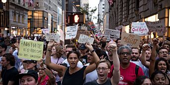 image: Trump møtt av protester i New York