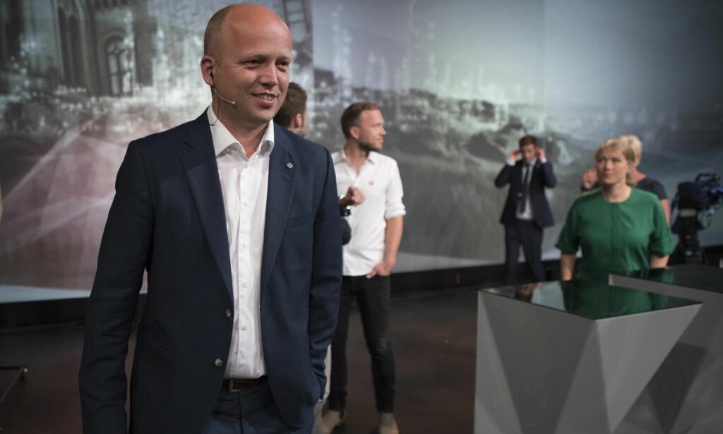 TV-DEBATT: Doremus Schafer kritiserer medienes dekning av valgkampen. Her er Trygve Slagsvold Vedum før partilederdebatten i Arendal denne uka. Foto: Torstein Bøe / NTB scanpix
