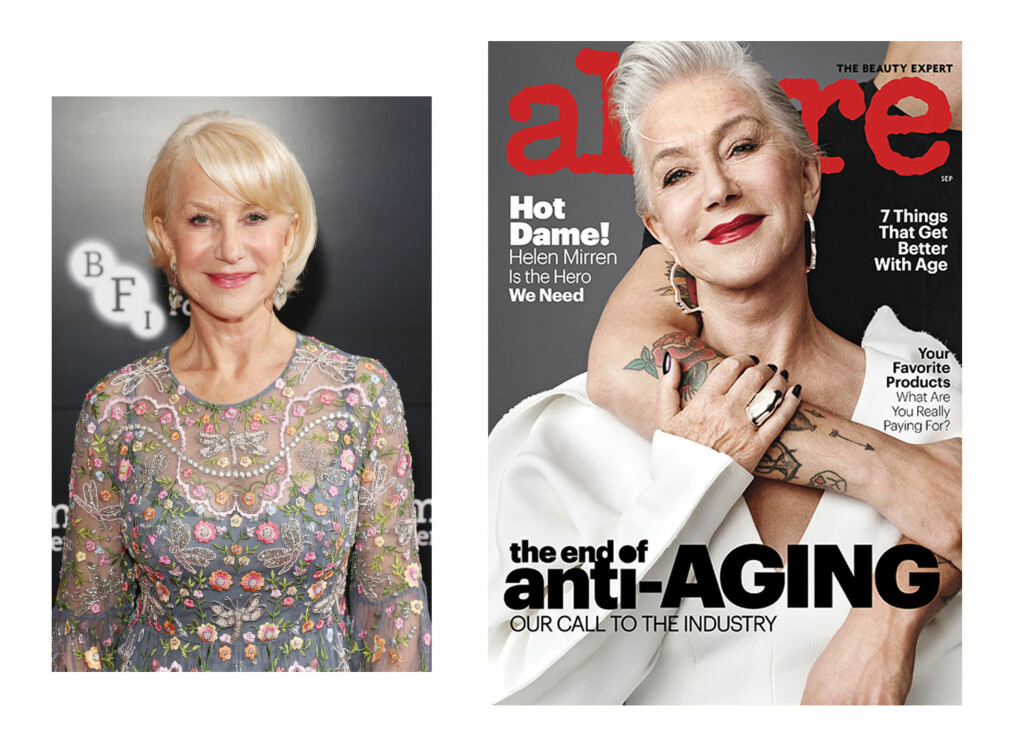 HELEN MIRREN: Den 72 år gamle skuespilleren Helen Mirren stråler på forsiden av Allure ! Foto: NTB Scanpix og faksimile Allure