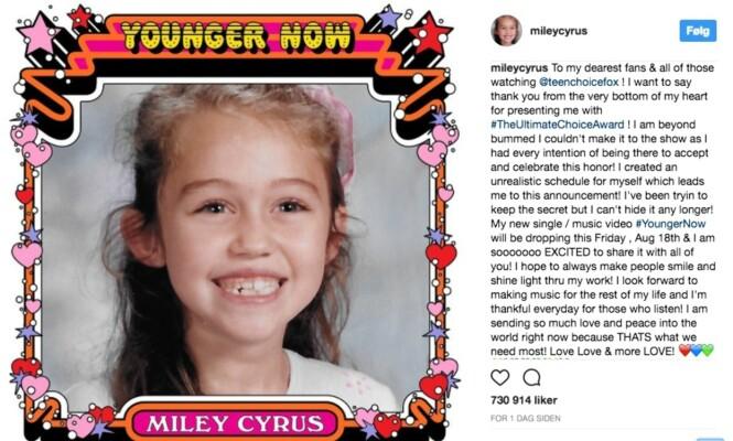 <strong>UNG:</strong> Miley Cyrus delte dette bildet på Instagram nylig. Hun slipper nemlig singelen «Younger Now» - og skal vi tro dette bildet er dette kanskje coveret til singelen. FOTO: Skjermdump Instagram