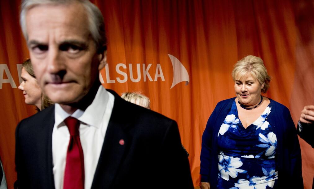 <strong>ROTTERACE:</strong> Jonas Gahr Støre og Erna Solberg kjemper om å vinne årets valg. Foto: Lars Eivind Bones / Dagbladet