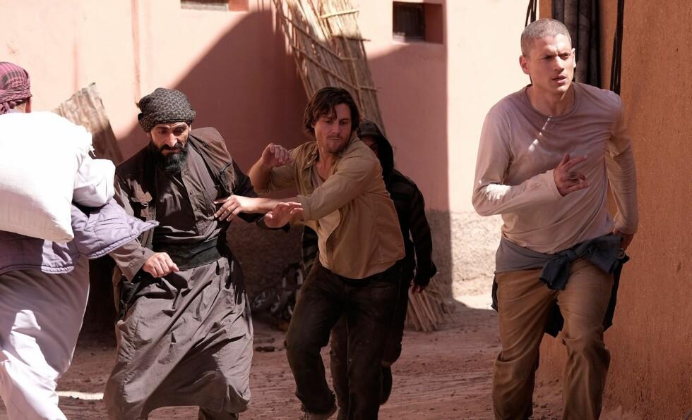 """INTENS SPENNING: Abu Ramal (Numan Acar), Whip (Augustus Prew) og Michael Scofield (Wentworth Miller) på flukt i den nye sesongen av """"Prison Break""""."""