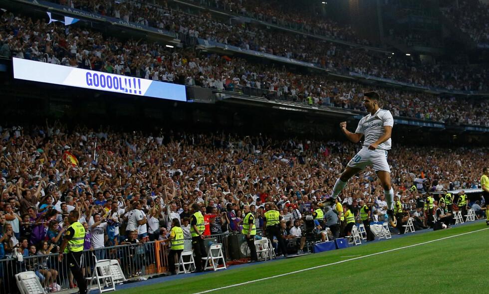 HØYTFLYVENDE: Marco Asensio har levert varene over to kamper mot Barcelona i den spanske Supercupen. Foto: REUTERS/Juan Medina/NTB Scanpix