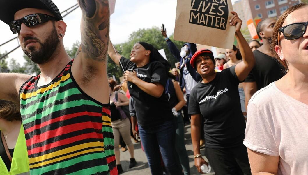 <strong>POLITIET ER KALT INN:</strong> 500 politifolk er bedt om å være til stede når aktivistene i Boston nå demonstrerer. Foto: Spencer Platt/Getty Images/AFP