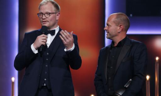 MANUS: Jan Trygve Røyneland og Harald Rosenløw Eeg fikk pris for beste filmmanus. Foto: Jan Kåre Ness / NTB scanpix