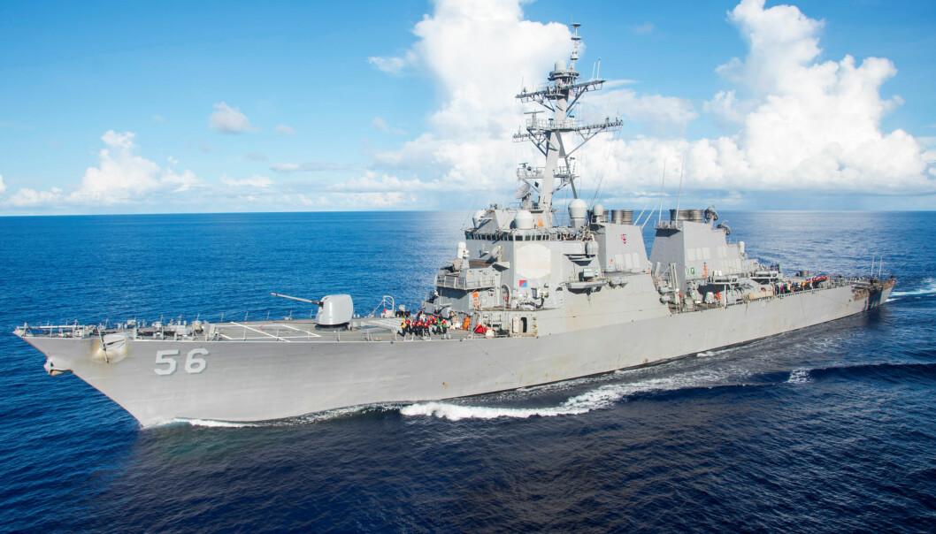 <strong>KRASJET:</strong> Den amerikanske jageren USS John S. McCain krasjet med et handelsskip øst for Singapore. Foto: REUTERS/File Photo