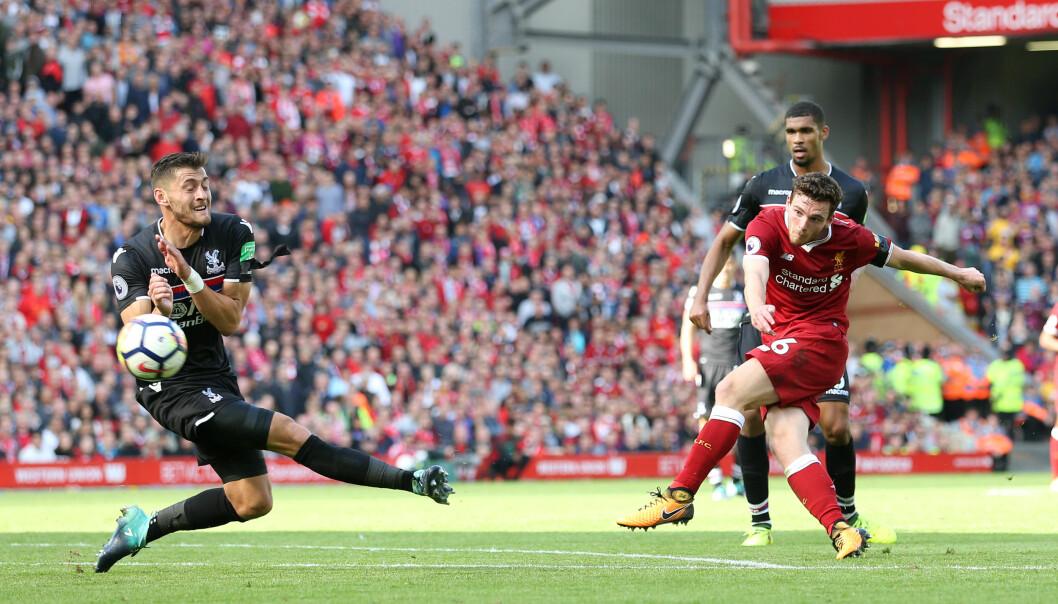 <strong>LOVENDE START:</strong> Liverpools Andy Robertson leverte en god debut. Foto: David Klein/Sportimage via PA Images/NTB Scanpix