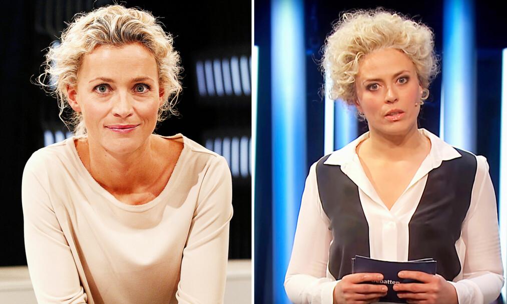 PARODI: NRK-profil Ingunn Solheim ble parodiert i programmet «Underholdningsavdelingen». Bildet til høyre viser Ine Jansen i rollen som Solheim. Foto: NRK