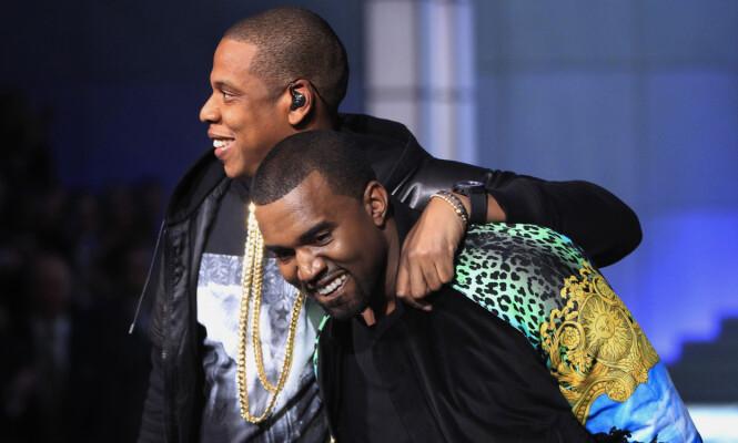 DÅRLIG STEMNING: Jay Z og Kanye West har lenge vært kolleger og gode venner, men den siste tiden har det vært uenigheter. Foto: NTB scanpiz