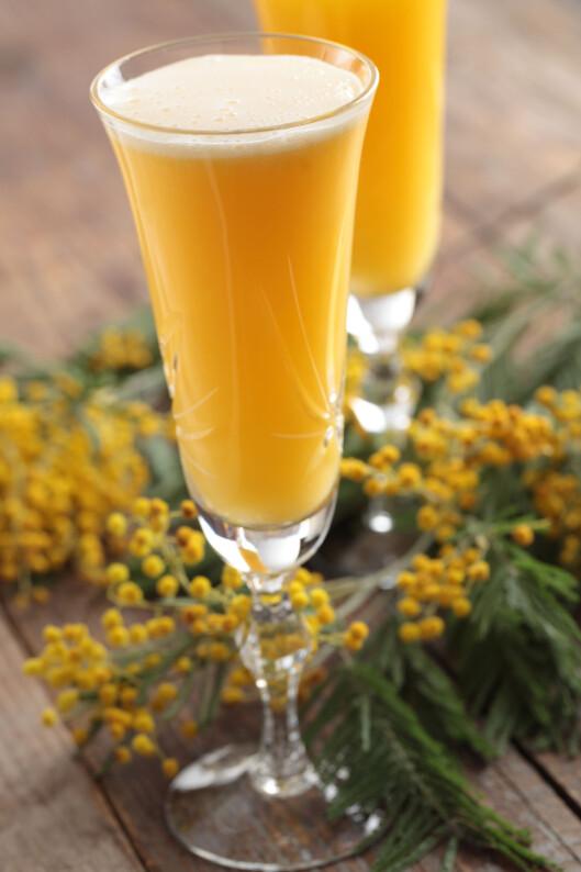 MIMOSA: Bland ut champagnen med appelsinjuice eller grapfruktjuice. Der smakfullt og forfriskende og vil ofte bidra til at du drikker litt mindre,  Foto: Lilyana Vynogradova - Fotolia