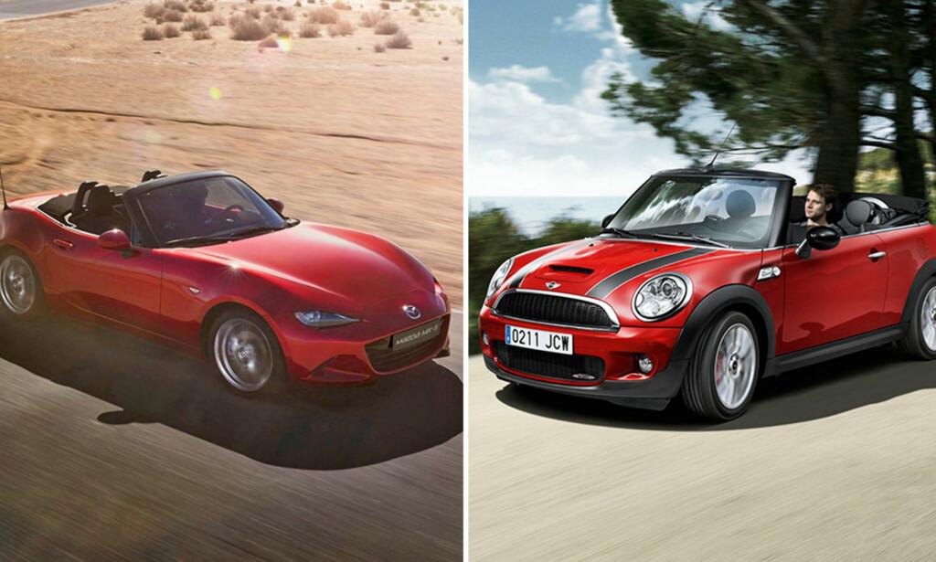 SUPERDUELL: Mazda MX-5 mot Mini Cabrio JCW er en heftig duell mellom to populære cabrioleter. Vi har testet de mot hverandre og kåret en - kanskje overraskende - vinner. Foto: Press