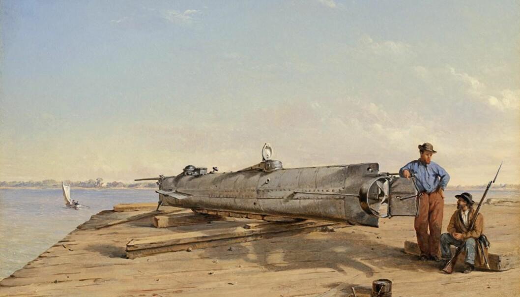 <strong>UBÅT:</strong> «H. L. Hunley» var verdens første ubåt som lyktes med å senke et fiendtlig skip. I over hundre år var farkomsten sporløst borte, og da den ble funnet i 1994 satt mannskapet på plassene sine som om ingenting hadde skjedd. Nå mener en forsker å vite årsaken til deres plutselige død. Foto: Bilde malt av Conrad Wise Chapman/Wikimedia Commons