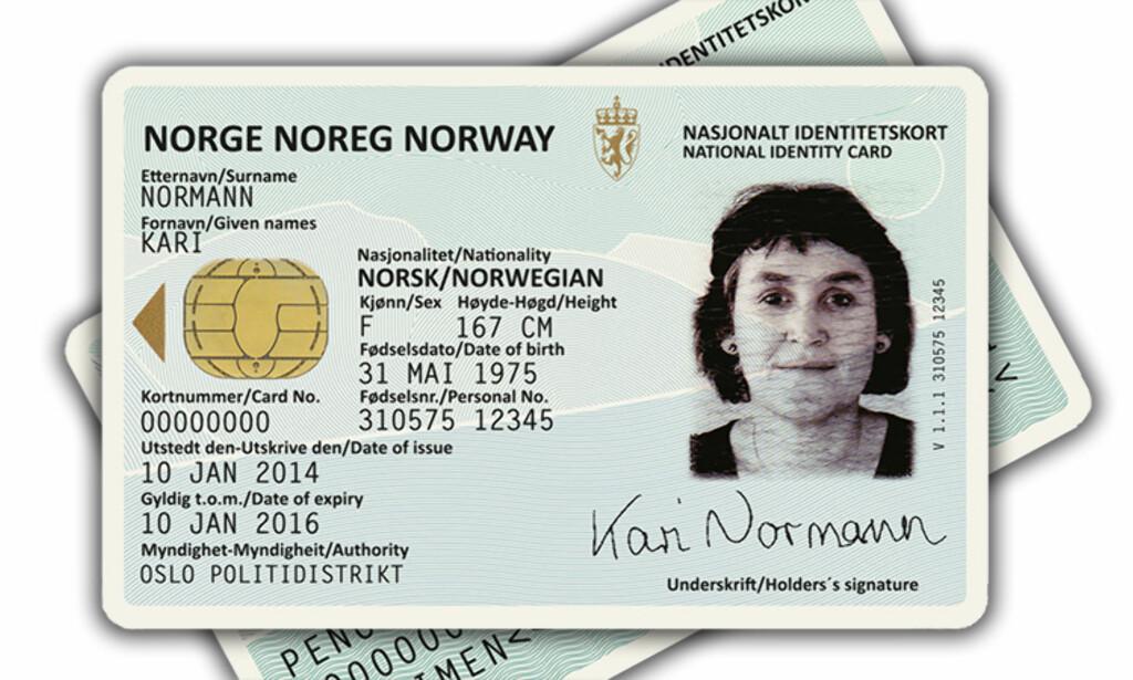 RETT I LOMMA: Det nye ID-kortet skal få plass i lommeboka. Flere EU-land har allerede tatt i bruk slike for sine borgere. Foto: Justisdepartementet