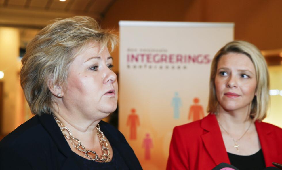 SIER NEI: Det er ikke aktuelt for Solberg å lempe på menneskerettighetene, slik Listhaug åpner for. Foto: Terje Pedersen / NTB scanpix