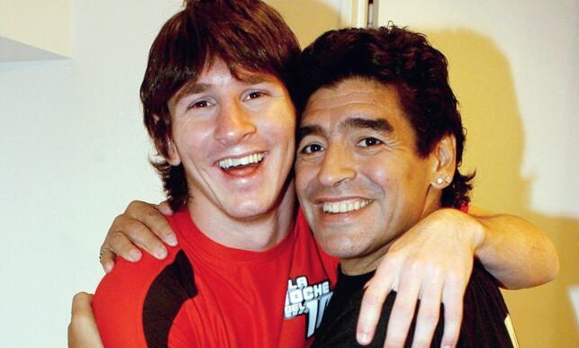 NYE MARADONA: En ung Lionel Messi møter Diego Maradona i 2005 som 18-åring. Foto: REUTERS/Canal 13/NTB Scanpix