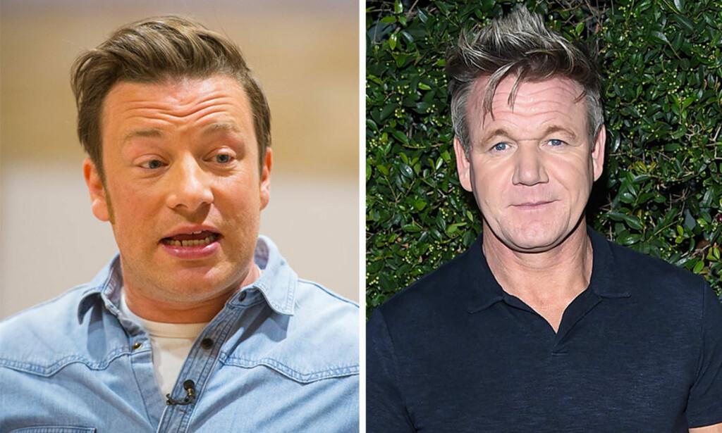 TO KOKKER - MYE SØL: I mars angrep Gordon Ramsay Jamie Olivers nye prosjekt. Nå svarer Jamie på anklagene. Foto: NTB Scanpix