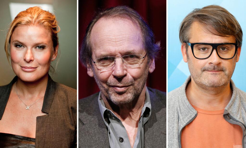DELTE MENINGER: Vendela Kirsebom, Ole Paus og Thomas Seltzer er blant kjendisene som har blitt satt opp på Samfunsspartiets stortingsliste - uten deres samtykke. Det har de delte meninger om. Foto: NTB scanpix