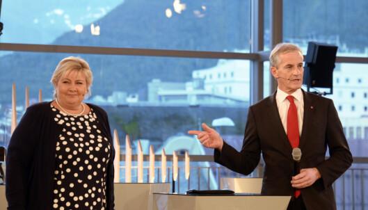 <strong>DUELLEN I GÅR:</strong> Statsminister Erna Solberg og Jonas Gahr Støre i NRK-debatt i Tromsø i går. Foto: Rune Stoltz Bertinussen / NTB scanpix