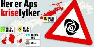 image: Ap's krisekart: I disse fylkene må Jonas Gahr Støre stoppe fallet