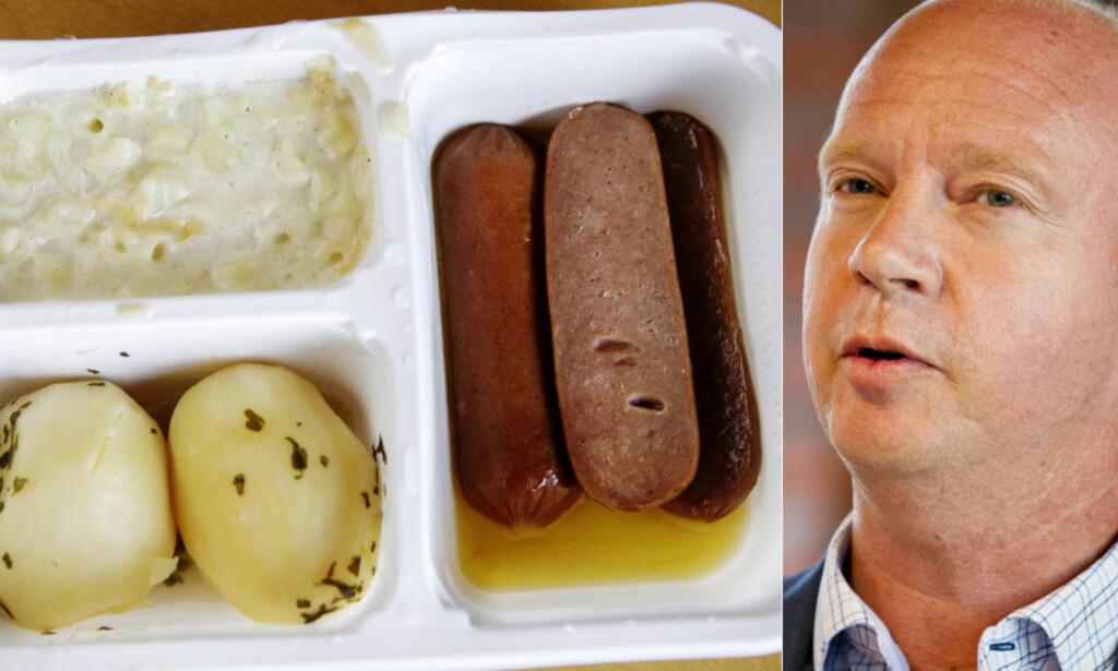 NITRIST: Venstres helsepolitiske talsmann Ketil Kjenseth syntes det var trist å se maten som sist fredag ble servert på Halden sykehjem. Foto: Nina Hansen og NTB SCANPIX