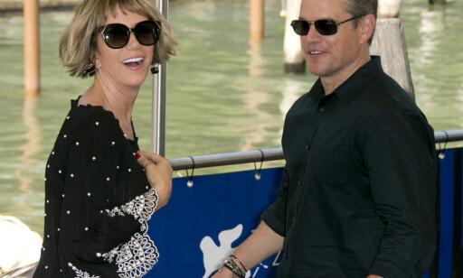 Wiig og Damon: På plass i Venezia i dag. Foto: NTB scanpix