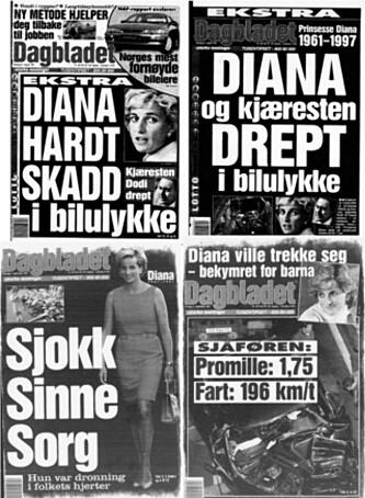 <strong>STORT:</strong> I likhet med resten av verden fulgte Dagbladet Dianas dødskrasj tett i dagene som fulgte. Her fra forsida av papirutgaven 31. august (begge øverst), 1 og 2. september 1997.