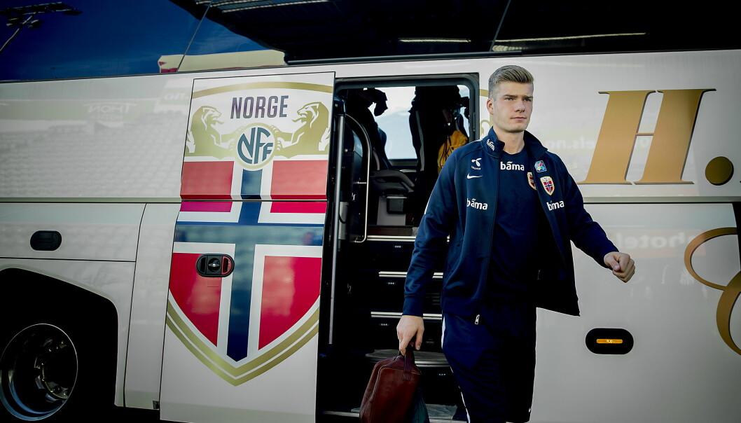 <strong>KAMPKLAR:</strong> Alexander Sørloth og Norge har forberedt kampen mot Aserbajdsjan hele uka. Foto: Bjørn Langsem / Dagbladet