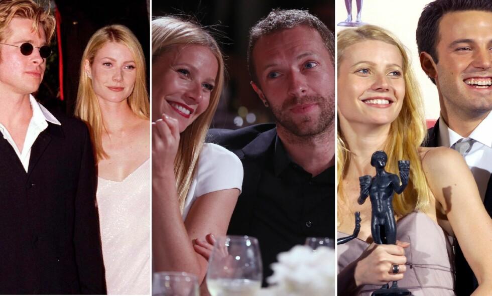 PROFILERTE FORHOLD: Gwyneth Paltrow var sammen med Brad Pitt og Ben Affleck i tre år hver og gift med Chris Martin i ti år. Foto: NTB scanpix