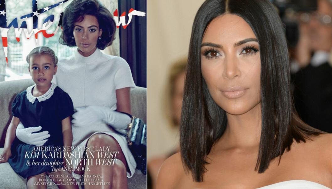 KONTROVERSIELL: Kim Kardashian vekker sterke reaksjoner på forsiden av Interview Magazine, der hun også har valgt å stille opp med sin lille datter, North West. Foto: Faskimile Interview magazine/ NTB scanpix