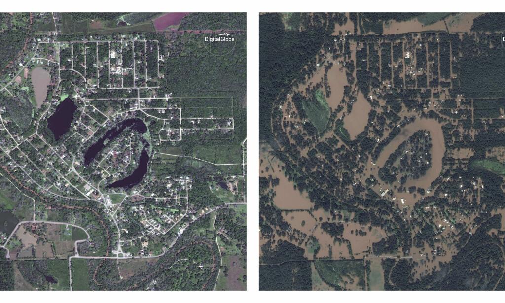 FLOM: Bildet til venstre ble tatt 3. April i år, mens bildet til høyre ble tatt 30. august. Satelittbildene er fra Holiday Lakes i Texas. Foto: DigitalGlobe / AP / NTB Scanpix