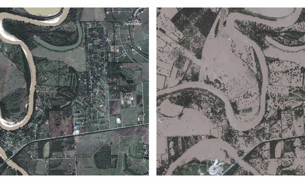FØR OG ETTER: Dette er Simonton, vest for Houston i Texas. Bildet til venstre ble tatt i november i fjor. Det til høyre ble tatt 30. august. Foto: DigitalGlobe / AP / NTB Scanpix
