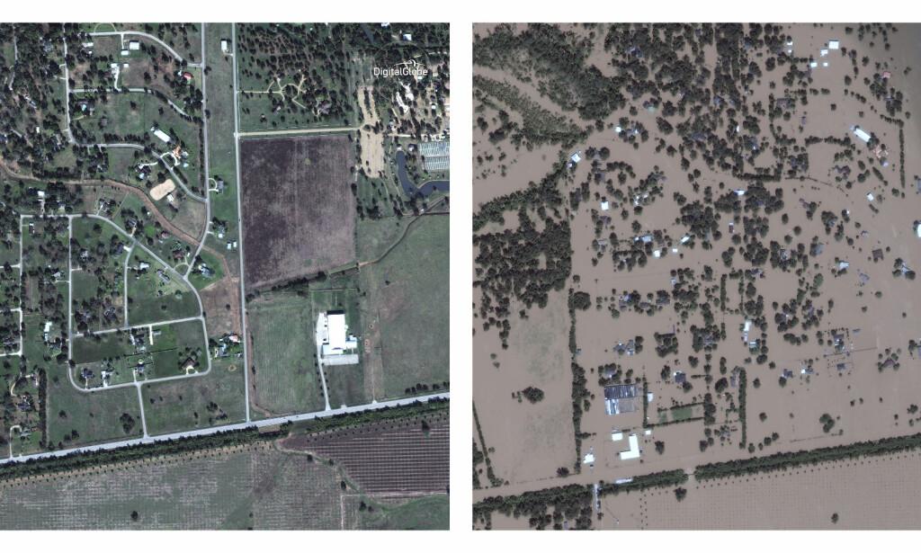 MYE VANN: Også dette bildet er fra Simonton. Det til venstre ble tatt i november, mens det til høyre er fra 30. august. Foto: DigitalGlobe / AP / NTB Scanpix