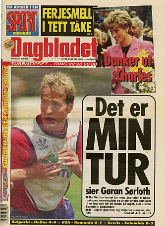 <strong>PÅ FRONTEN:</strong> Gøran Sørloth var førstesidestoff i Dagbladet under USA-VM i 1994.