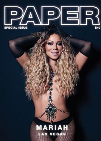 GJØR SOM KIM KARDASHIAN: Mariah Carey pryder forsida av det amerikanske magasinet Paper denne måneden. Foto: Faksimile