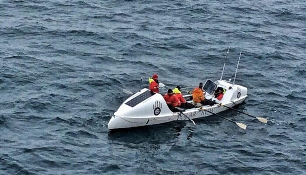 <strong>MUSKELKRAFT:</strong> I denne båten, uten seil eller motor, rodde ekspedisjonen fra Tromsø til Svalvard og tilbake igjen mot Island. Foto: The Polar Row