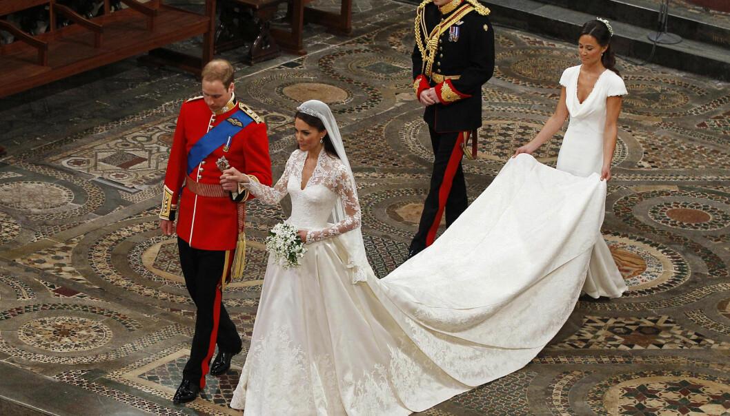 <strong>VAKKER:</strong> Kate var en svært vakker brud da hun giftet seg med sin prins William. Også hennes lillesøster Pippa fikk mye oppmerksomhet for antrekket. Foto: Reuters