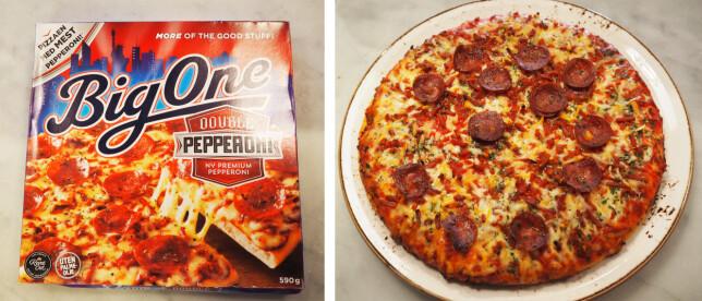 BigOne pizza koster 80,50 kroner for 590 gram, en kilopris på 136,44 kroner.