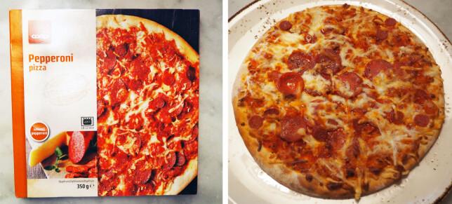 Coops pizza koster 26,70 kroner for 350 gram, 76,28 kroner per kilo. (Er du medlem koster den 20 kroner, noe som gir en kilopris på 57,14 kroner.)