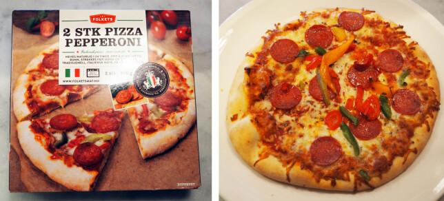Folkets pizza pepperoni koster 49,90 kroner for to stk, totalt 720 gram, 69,30 kroner per kilo. Enkeltpakkene koster 31,50 kroner, noe som gir en en kilopris på 87,50 kroner.