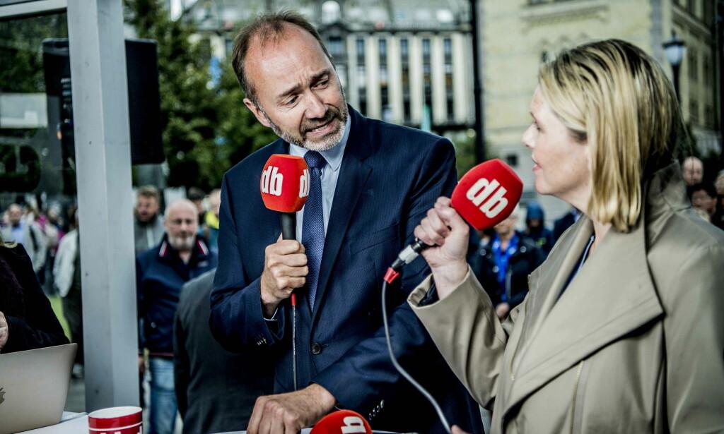 KRANGLET: Trond Giske og Sylvi Listhaug i debatt i Dagbladets valgbod forut for stortingsvalget. Foto: Thomas Rasmus Skaug / Dagbladet