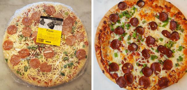 Ikea-pizzaen koster 79 kroner for 875 gram - 90,28 kroner per kilo.