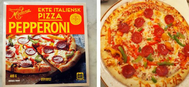 Rema 1000s pizza koster 28 kroner og veier 405 gram - 69,13 kroner per kilo.